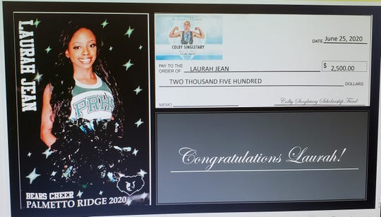 Palmetto Ridge senior Laurah Jean, shown in the slideshow presentation from a virtual announcement ceremony, was the top girls winner of the inaugural Colby Singletary Scholarships.