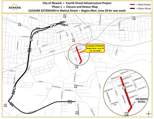 The closure on South 4th Street, as part of Phase 1 of the Fourth Street Infrastructure Project, will be extended through Railroad Street on Monday, June 29th, for approximately one week.