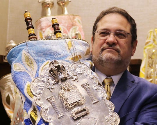 Rabbi Jordan Millstein and the Torah scrolls at Temple Sinai in Tenafly on June 26, 2020 where he spoke about his commitment to fight racism.