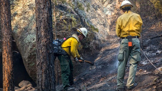 Firefighters work to contain the Tadpole Fire in the Gila National Forest Saturday, June 20, 2020.