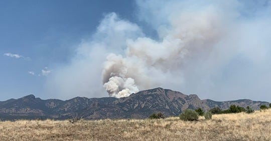 The Vics Peak Fire in the Cibola National Forest near Magdalena is visible Thursday, June 25, 2020.