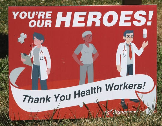 A sign at the Shasta County Health and Human Services Agency on Breslauer Lane gives thanks to health-care workers.