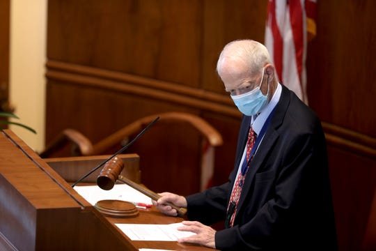 Senate President Peter Courtney, D-Salem, listens during a special session in the Oregon State Capitol in Salem, Oregon, on Friday, June 26, 2020.
