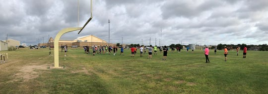 Brady ISD athletes participate during summer strength and conditioning workouts.
