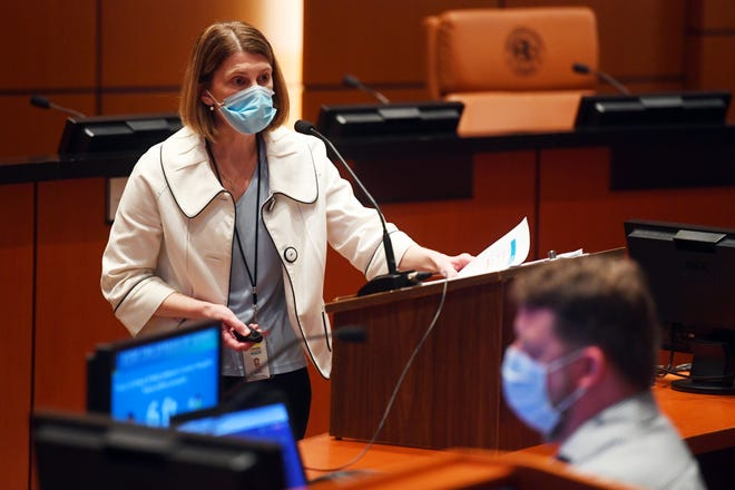 Health Officer Miranda Hawker outlines the recent increase in positive COVID-19 cases in Indian River County at a news conference on Friday, June 26, 2020, at the Indian River County Commission chambers in Vero Beach. At the meeting, County Administrator Jason Brown announced the mandatory order for the wearing of face masks for employees serving the public and those visiting county facilities to go into effect Monday at 8 a.m. The order applies only to areas of unincorporated Indian River County, not to municipalities.