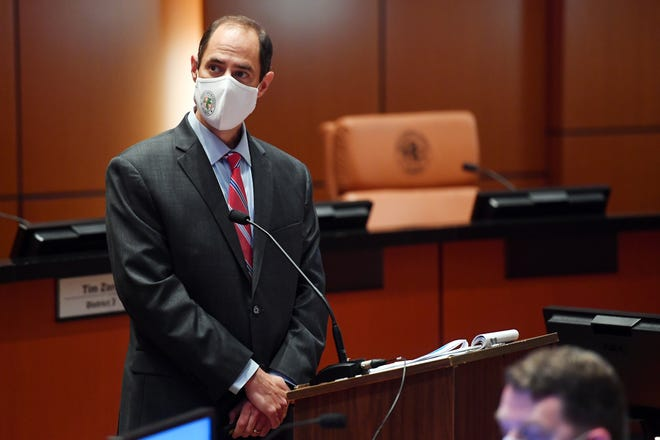 County Administrator Jason Brown address a small group of media and citizens concerning the required use of face makes on Friday, June 26, 2020, in the County Commission Chambers in Vero Beach. Because of the recent spike in COVID-19 infections, beginning Monday at 8 a.m. masks will be required for employees serving the public and those visiting county facilities. The new order applies only to areas of incorporated Indian River County, not to cities or towns.