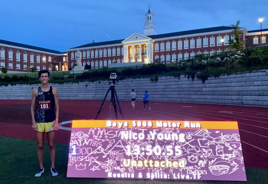 Newbury Park High graduate Nico Young ran the fourth-fastest 5,000 meters in high school boys track history on Tuesday night at Franklin High in Portland, Oregon.