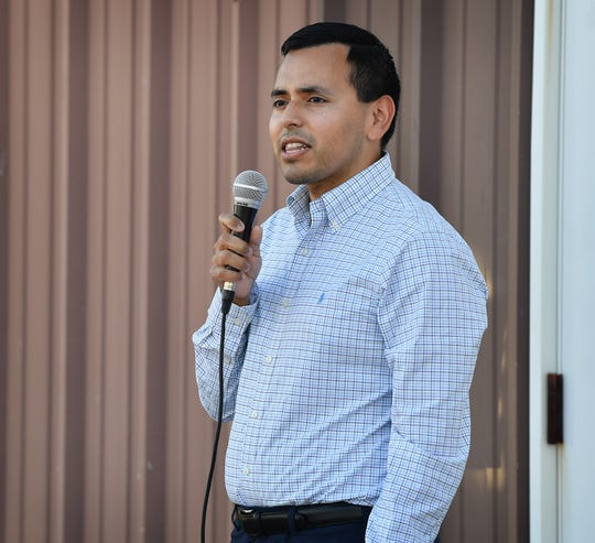 Gus Trujillo, candidate for the 13th Congressional District, held a town hall meeting Thursday evening at the Wichita County Democrats headquarters.