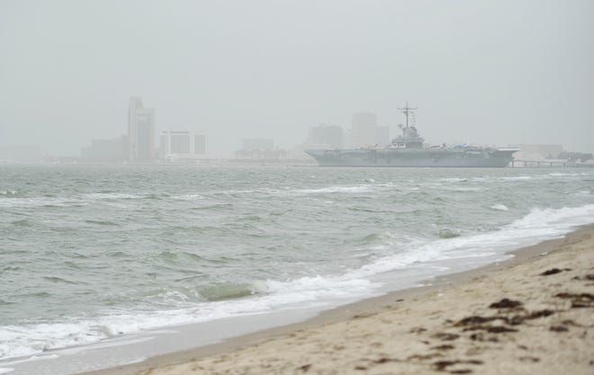 """The Saharan dust can be seen causing a haze in downtown Corpus Christi and Corpus Christi Bay on Saturday, June 27, 2020. The Texas Commission of Environmental Quality reports air quality in the area was """"unhealthy for sensitive groups."""""""