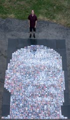 Alex Scoloveno, 23, created a giant mosaic of George Floyd to teach others about civil right and police brutality.