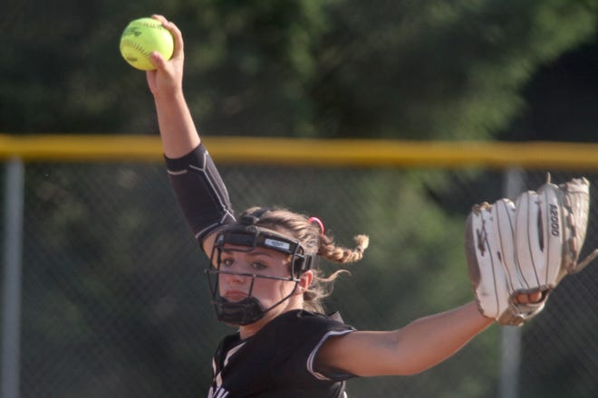 Norwalk junior Haley Downe pitches against Newton. Norwalk beat Newton 10-0 in the first game of a home doubleheader on June 26.