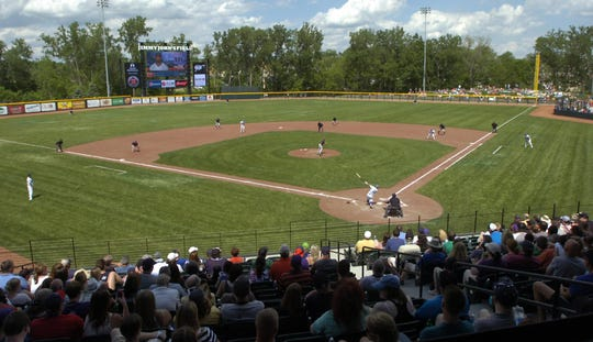 A sold-out crowd showed up for the inaugural United Shore Professional Baseball League game at Jimmy John's Field in Utica in 2016.