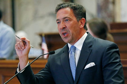 Sen. Chris McDaniel, R-Ellisville, urges his colleagues to vote against a resolution that would allow lawmakers to change the state flag Saturday, June 27, 2020 at the Capitol in Jackson, Miss. However, the Mississippi Senate passed it. Members of both the House and Senate are now expected to pass a bill that removes the current flag and establishes a path forward to getting a new one. Gov. Tate Reeves has already said he would sign whatever flag bill the Legislature decides on. The current flag has in the canton portion of the banner the design of the Civil War-era Confederate battle flag, that has been the center of a long-simmering debate about its removal or replacement. (AP Photo/Rogelio V. Solis)