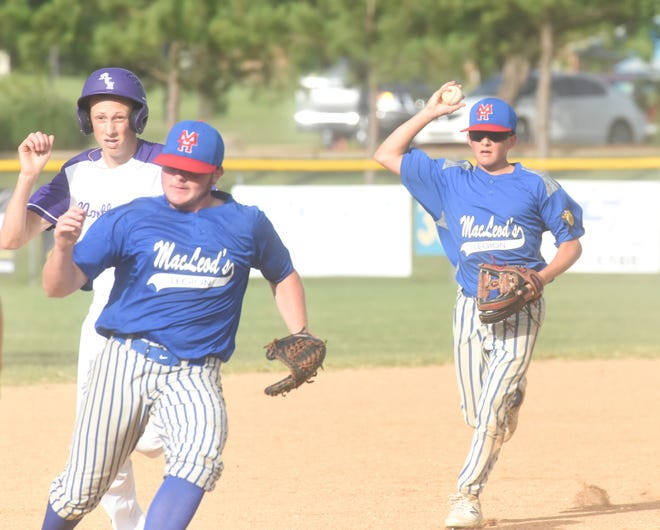 MacLeod's Phillip Pasthing (right) and Brett Manes catch North Central Arkansas' Hank Guiltner in a rundown between second and third base Friday night at Cooper Park.