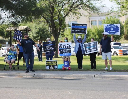 """Las Cruces residents gather Saturday,  June 27, 2020, at Albert Johnson Park in Las Cruces to """"Back the Blue."""""""