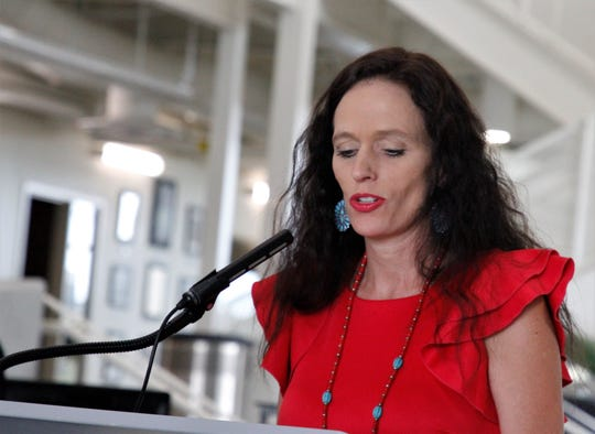 San Juan College President Toni Hopper Pendergrass speaks, Friday, June 26, 2020, about a memorandum of understanding to develop a carbon capture training program at the School of Energy in Farmington.
