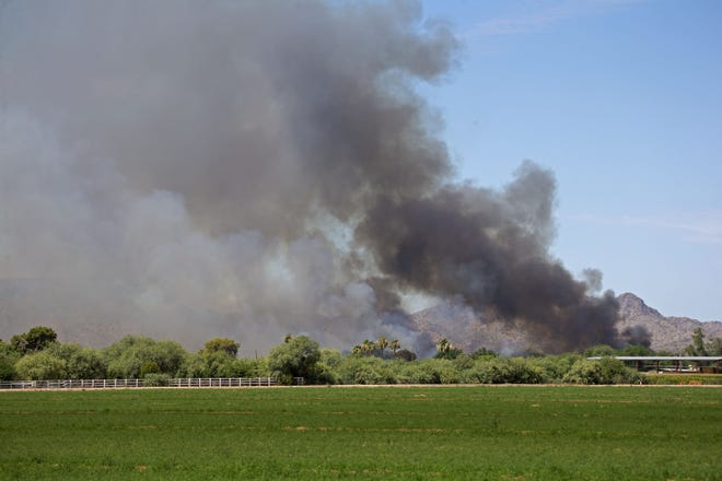 Wildfire near the town of Avondale on June 27, 2020.