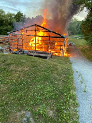 The scene of a structure fire at a sewer treatment plant  in Hyde Park on Friday.