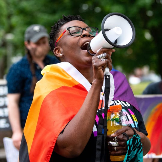 Rainbow Rose Center Vice President Maria McCargo Gable alternates between Black Lives Matter and Trans Lives Matter chants as she marches downtown in support of the Black Lives Matter movement and the LGBTQ community on Saturday, June 27, 2020. The rally, hosted by the Rainbow Rose Center, started at Penn Park and continued through town to Cherry Lane in York.