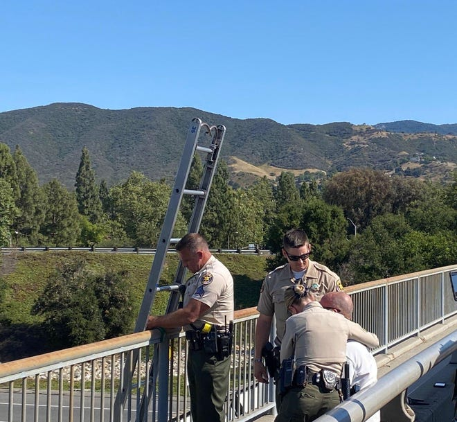 Ventura County Sheriff's deputies safely talked down a despondent subject from the Borchard Road overpass above Highway 101 Friday afternoon in Newbury Park. The incident closed the freeway in both directions for a time.