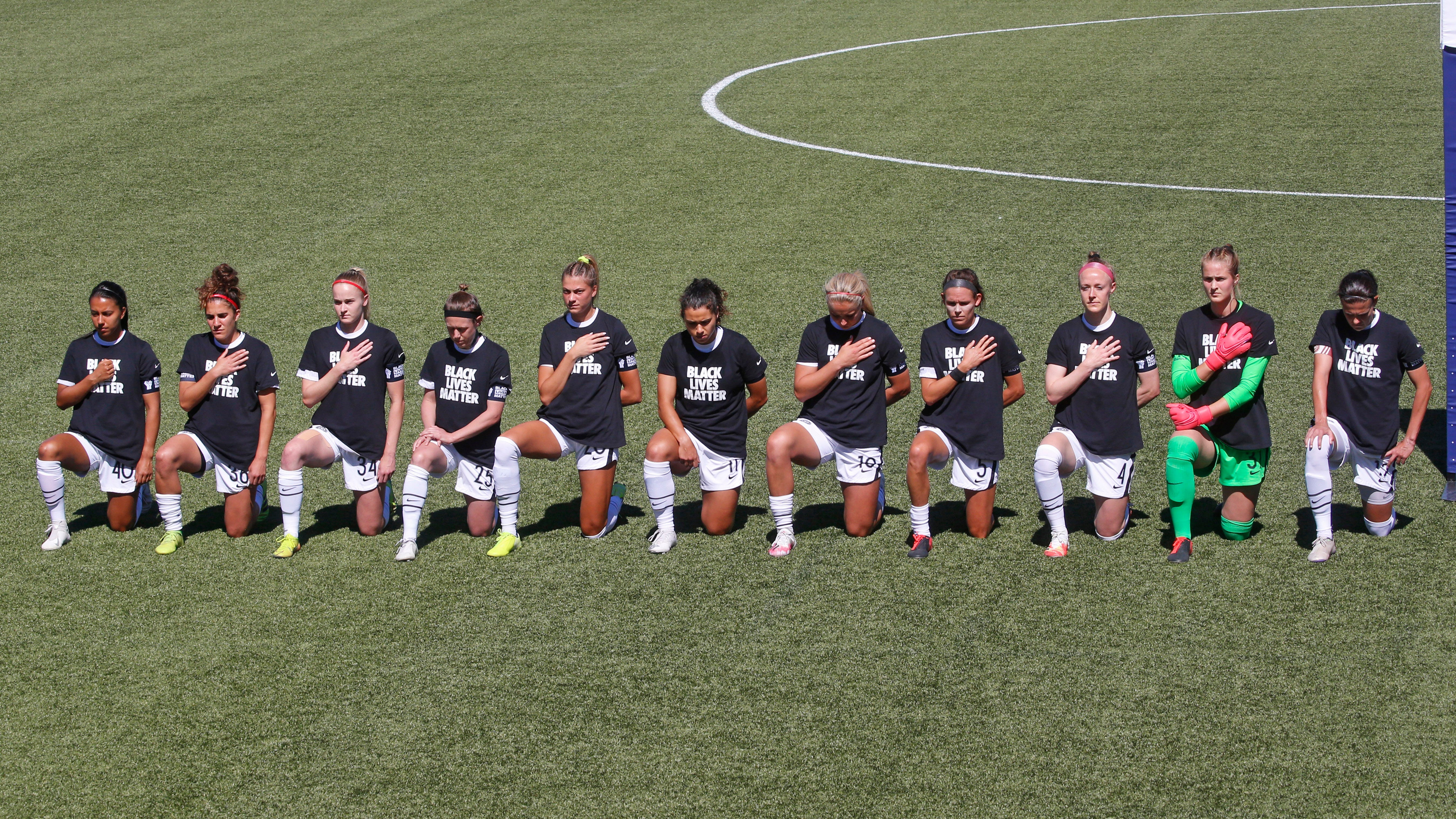 NWSL players wear  Black Lives Matter  shirts, kneel before first game of Challenge Cup