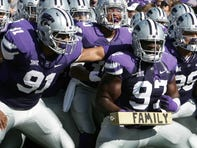 Oct 25, 2014; Manhattan, KS, USA; The Kansas State Wildcats wait to take the field before the start of a game against the Texas Longhorns at Bill Snyder Family Stadium. Mandatory Credit: Scott Sewell-USA TODAY Sports ORG XMIT: USATSI-182320 ORIG FILE ID:  20141025_gma_as4_036.jpg
