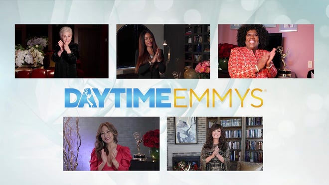 The 4th Daytime Emmy Awards had a different look Friday, with stars of CBS' 'The Talk' - Sharon Osbourne, clockwise from top left, Eve, Sheryl Underwood, Marie Osmond and Carrie Ann Inaba - hosting the ceremony remotely.