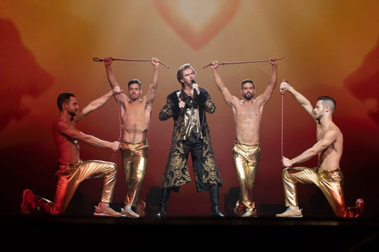 """Dan Stevens performs """"Lion of Love"""" as Alexander Lemtov in """"Eurovision Song Contest: The Story of Fire Saga."""""""