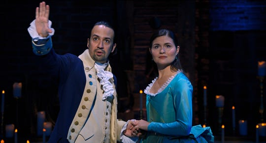 "Lin-Manuel Miranda stars as Alexander Hamilton and Phillipa Soo is Eliza Hamilton in ""Hamilton,"" the filmed production of the Broadway musical coming to Disney+."