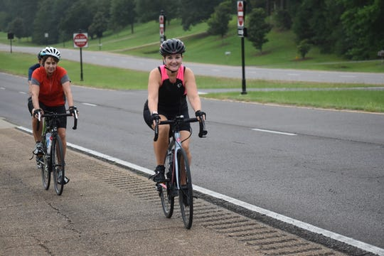 Tami Banick (front) has been cycling for 10 years. She recently got her friend Helen Caletka and husband Steve Banick to join her.