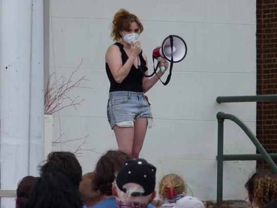 Hailey Rounsaville, the organizer of the Flemington Black Lives Matter rally, on Saturday, June 27.