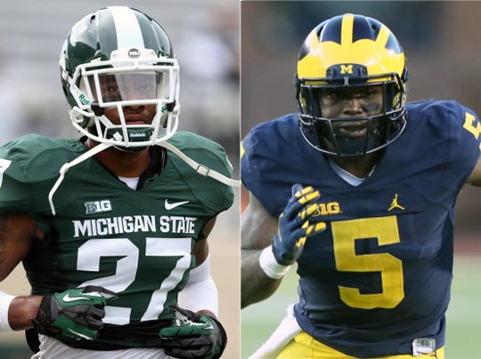 Former Michigan State defensive back Kurtis Drummond, left, and former Michigan defensive back Jabrill Peppers.