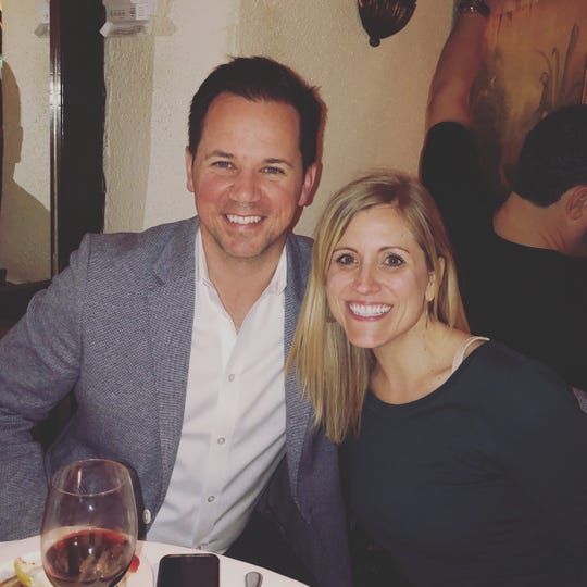 Matt Atkenson, U.S. retail communications manager at Ford, has studied data that reflects consumer anxiety associated with the uncertain economy. He is pictured here with his wife Stacy on April 27, 2019 in New York.
