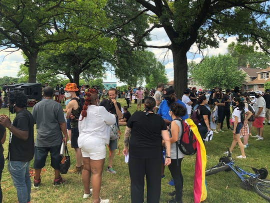 A coalition of groups gathers in Patton Park in Southwest Detroit for a march and rally in protest of including systemic racism, police brutality, deportations, evictions and water shut-offs. June 28, 2020