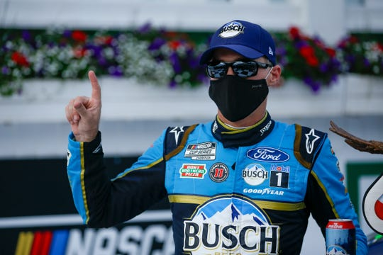 Kevin Harvick snapped an 0-for-38 drought at Pocono Raceway, taking the checkered flag Saturday at one of two tracks where victory had eluded him.