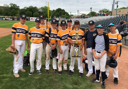 Hunter Houck (23, fourth from right) and his Great Falls Chargers teammates pose with the runner up trophy from the Goldsmith Gallery Jewelers American Legion Baseball Tournament at Dehler Park in Billings Sunday.