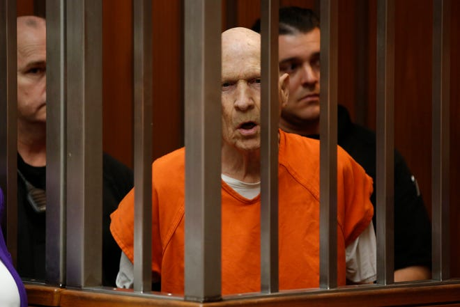 In this March 12, 2020, file photo, Joseph James DeAngelo, charged with being the Golden State Killer, appears in court in Sacramento, Calif. The 74-year-old former police officer is tentatively set to plead guilty Monday, June 29, 2020, to being the elusive Golden State Killer. The hearing comes 40 years after a sadistic suburban rapist terrorized California in what investigators only later realized were a series of linked assaults and slayings.