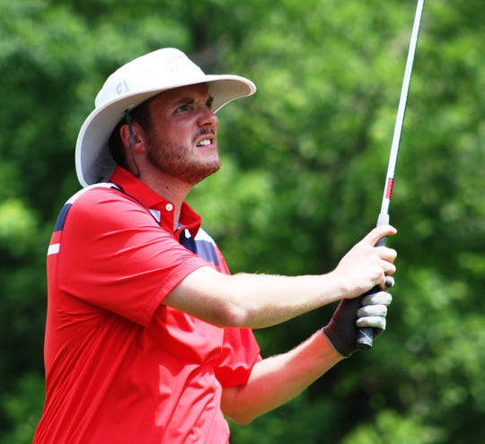Justin Arnt eyes one of his shots en route to winning his first Lebanon County Amateur Golf championship Sunday.