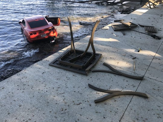 Put-in-Bay police say no passengers were in the orange Chevrolet Camaro and no bystanders were injured.