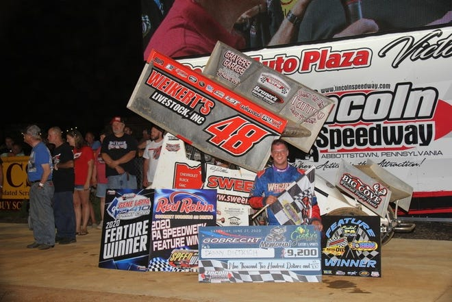 Danny Dietrich is shown here in a file photo after a recent Lincoln Speedway win.