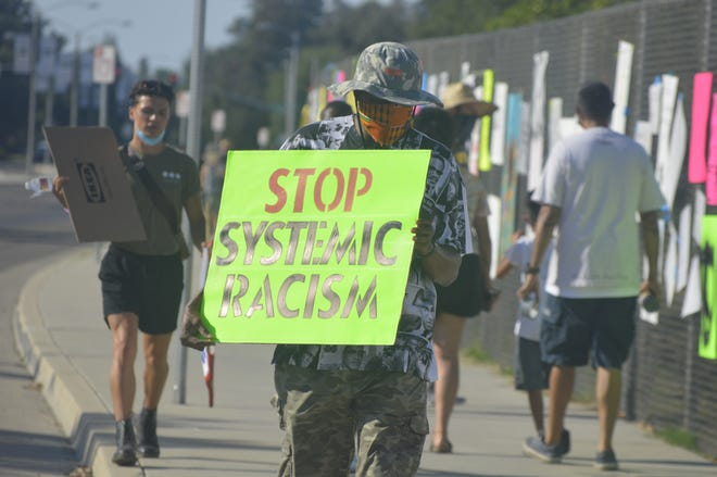 More than 70 people joined the Black Lives Matter march on June 27, 2020 at El Diamante High School in Visalia.