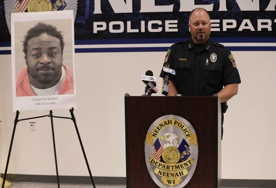 Neenah police chief Aaron Olson speaks during a press conference Monday afternoon. Olson released information about Donald Lee Billings, who investigators identified as a suspect in the deadly shooting June 22 at a home on Adams Street. Billings was last seen in Milwaukee and is considered armed and dangerous.