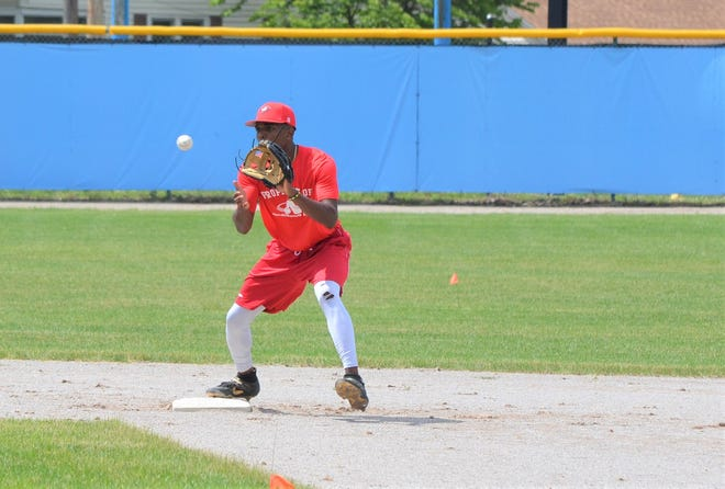 TJ McKenzie, who played this spring as a freshman at Vanderbilt University, goes through infield drills for the Battle Creek Bombers at C.O. Brown Stadium.