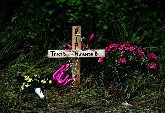 A roadside memorial marks the scene where five people were killed on Sunday in an accident involving two vehicles on Rt. 79 in Richford, near the border of Tioga and Broome counties. June 29, 2020.