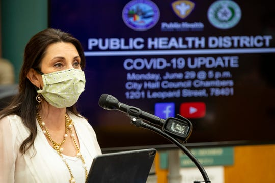 Nueces County Judge Barbara Canales speaks during the daily Public Health District COVID-19 Update at City Hall on Monday, June 29, 2020.