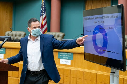 Corpus Christi City Manager Peter Zanoni speaks during the daily Public Health District COVID-19 Update at City Hall on Monday, June 29, 2020.