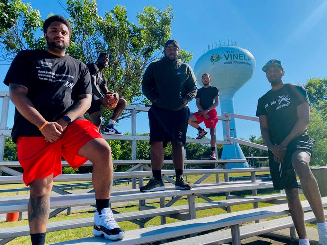No Mans Land has hosted three one-on-one basketball cards in Vineland, drawing more than 600 fans to its last one in early June. Pictured (from left): Dalton Sterling, Haashim Wallace, Ant Reese, Kadeem Tomlin and Josh Ashley.