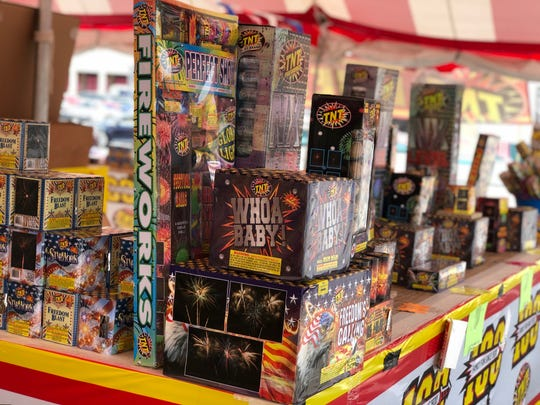 Fireworks are displayed at TNT Fireworks on Madison Street on June 29, 2020.