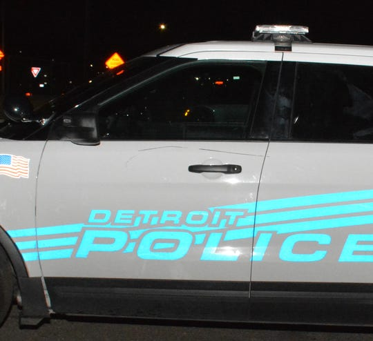 Damage to a Detroit police cruiser is seen in this photo provided by the department. Detroit Police Chief James Craig stated in a press conference the vehicle was damaged by protesters during a march on Sunday, June 28, 2020.