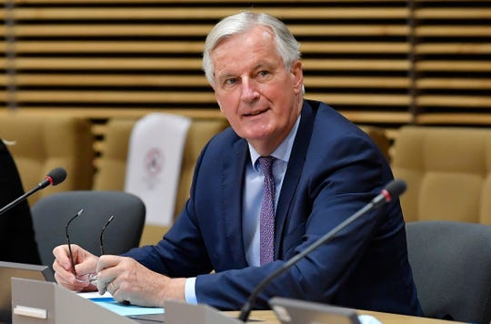 European Union's Brexit negotiator Michel Barnier waits for start of a meeting on further Brexit negotiations at EU headquarters in Brussels, Monday, June 29, 2020.